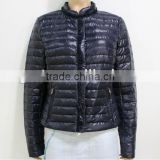 2014 Winter Padded Jacket Women Garment Long-Sleeve Dark Blue Down Jacket Trimmed With Laces
