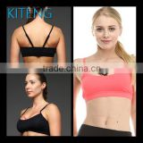 Kiteng high quality front arched straps yoga sports bra with wicking fabric and padding Office In United States small minimum