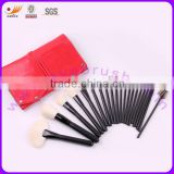 21pcs Natural Hair Matt Black Wood Handle Red Pouch Professional Makeup Brush Set