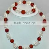 "wholesale 2 rows 18"" 5-6mm white rice pearls & 12mm red agate necklace & bracelet"