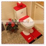 HD2042 Hot selling Father christmas decoration three pieces toilet / Santa Claus Rug Bathroom Set