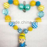 Wholesale Girls Princess Chunky Top Cinderella Necklace Cartoon Character Kids Jewelry Baby Chunky Necklace