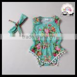 Summer fashion Yawoo blossom green pompon triangle girl baby rompers sleeveless fancy wholesale children clothing usa
