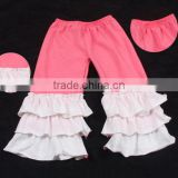 children capris toddler knit cotton ruffle baby legging pants triple baby icing ruffle pants