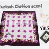 110x110cm Fashion Polyester Turkish Chiffon Medium Lady Scarf with Spangle New Design Made in Factory