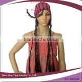 fashionable hat with fake long micro braid hair wig attached