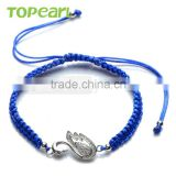 Topearl Jewelry High Quality Fashion 925 Sterling Silver Beads Swan Charm Hand-knitted Bracelet 9SB10