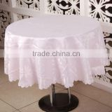 Pink Colour Luxury Banquet Round Jacquard Table Cloth, Embroidery Table Cover