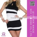 New 2015 Fashion Women Summer Sexy Bandage BodyCon Sleeveless Slim Party Cocktail Mini Elegant Black White Dress