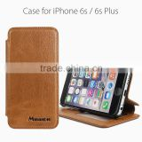 Guangzhou factory wholesale fancy genuine cow leather mobile phone case for Iphone 6 flip case for sale