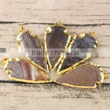JF6939 Hotsale Big Natrual agate arrow head gold plated gemstone arrowhead pendant                                                                         Quality Choice