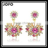 18K Gold Plated Crystal Fashion Lady Sunflower Type Drop Earrings