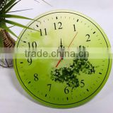 UV Oil 4C Printing Green Butterfly Decorative Acrylic Wall Clock