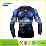 digital printing Men's Long Sleeve Running Fitness Workout Compression Base Layer Shirt