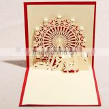 Handmade 3D Pop Up Ferris Wheel Greeting Card With Envelope for christmas                                                                         Quality Choice