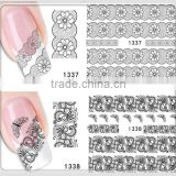 2015 hot sale 3D eco friendly french black white flower lace nail art sticker decoration set