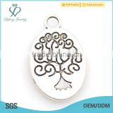 New arrival alloy silver tree of life charm,silver oval charm jewelry