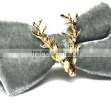 Western Style Velvet Bow Tie With Metal Deer,High-end Men's Neckwear For Suit                                                                         Quality Choice