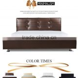 Stylish Genuine Leather Double Bed Modern Noble Solid Wood Frame Double Bed