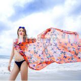 2016 fashion beach scarf summer suncreen beach dress elegant printed butterfly wrap bikini dress