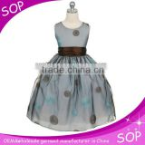 Black and white dot cute bowknot satin flower girl dress puffy dresses for kids
