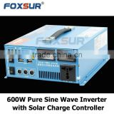 Portable 600W pure sine wave solar inverter built in solar charge controller 12V/24V dc to 110V/230V AC with Digital display