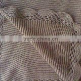 100%Cotton Knitting Corchet Scallop Edged Throw Blanket