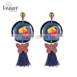 Fashion jewelry blue tassel mix color painting ethnic earrings jewelry for girl