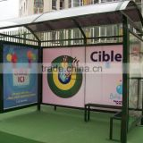 Modern Aluminum bus stop shelter / prefab metal waiting bus station shelter in High Quality with LED light box for Construction