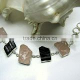 Rose Quartz & Tourmaline Multi Stone Rough Bracelet, 925 Solid Sterling Silver Bracelet, Designer Gemstone Raw Bracelet