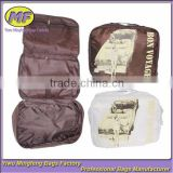 Brown and White Printed Big Foldable Nylon Cosmetic Bag Manufacturer