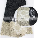 2016 black heavy guipure lace fabric african lace/multicolor guipure lace fabric/chemical lace embroidery fabric                                                                         Quality Choice