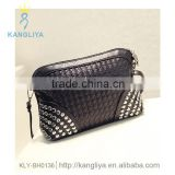 Clutches pu leather handbag purse lady long bag rivets ornament black and silver color available