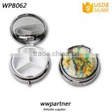 Round Pill Box with Mirror 3 Compartments