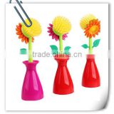 wholesale plastic natural kitchen flower dish cleaning brush