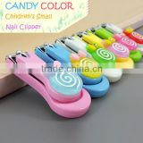 Wholesale small candy color children fingernail clipper colorful plastic lollipop nail clipper for kids supplier