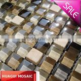Marble mix glass mosaic beige tile 15*15*8 HG-815158
