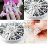 5 Sizes Nail Art Tips Crystal Glitter Rhinestone 3D Nail Art Decoration white AB color acrylic diamond drill Manicure