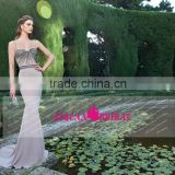 New Mermaid Satin Spaghetti Straps Sexy Backless Beaded Evening Dress 2015 OM003 long dresses evening