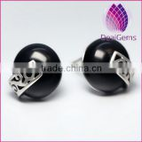 2015 wholesale 925 fashion silver earring round with black agate stud earring sold by pairs
