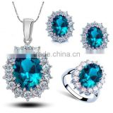 SET458 Rhodium Plated Blue CZ Jewelry Set/Wedding Set