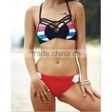 Women's Bathing Suit Adjustable Spaghetti Strap Floral Print Criss Cross Bikini Set