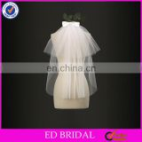 A09 Cheap Price Short Front and Long Back Plain Tulle Fabric Bridal Veil For Wedding