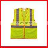100% polyester mesh fabric vests High visibility Fluorescent yellow green reflective safety vest factory price