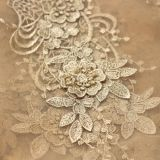 Gloden new design fashion elegant beautiful embroidery dress 3d lace fabric