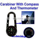 Carabiner With Compass And Thermometer For Camping And Hiking (Silver)