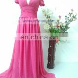 AC7R01 V neckline short sleeve peach chiffon long evening dress