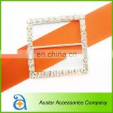 Square crystal rhinestone buckle chair sash,Invitation Diamante Ribbon Slider For Wedding Supplies
