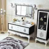 Black And White Finish Double Rustic Bathroom Vanity With Genuine Marble Counter-top And Side Cabinet No.316