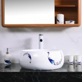 Small size round shape tabletop no hole wash hand basin sink with single printed